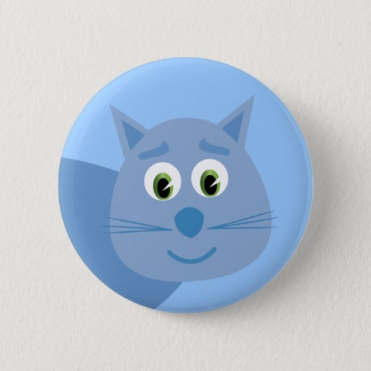 Smiling blue cartoon cat button / badge