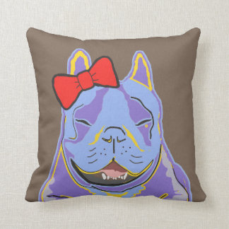 Smiling Boston Terrier Red Bow Cushion