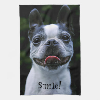 Smiling Boston Terrier Tea Towel