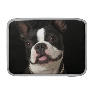 Smiling Boston terrier with collar MacBook Sleeve
