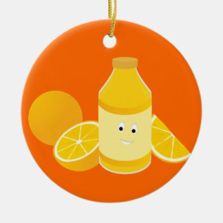 Smiling bottle of orange juice with oranges christmas ornament