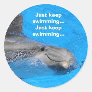 Smiling Bottlenose Dolphin Round Sticker