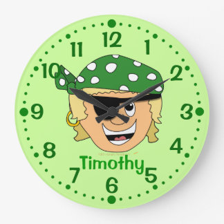 Smiling Boy Pirate Personalized Clock w/ Minutes