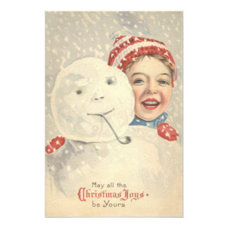 Smiling Boy Snowman Snow Pipe Knit Hat Photographic Print
