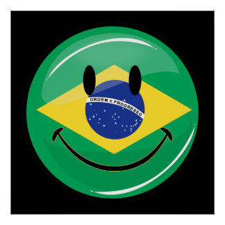 Smiling Brazilian Flag Poster