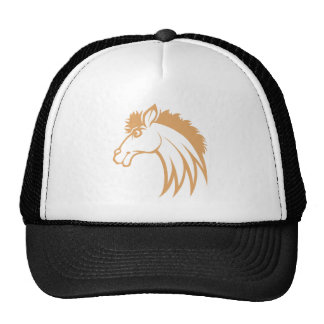 Smiling Brown Horse Trucker Hats