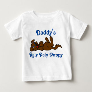 Smiling Brown Puppy Dog Roll Over Baby T-Shirt