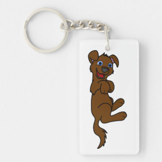 Smiling Brown Puppy Dog Roll Over Single-Sided Rectangular Acrylic Key Ring