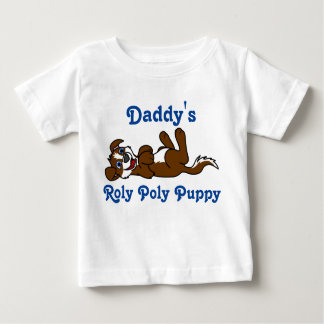 Smiling Brown Puppy Dog with Blaze Roll Over Baby T-Shirt