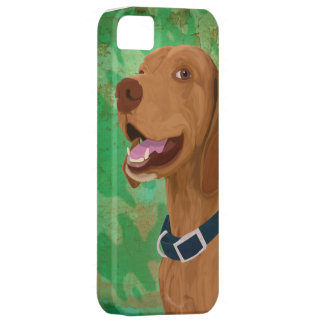 Smiling Brown Vizsla on Green Background iPhone 5 Cover