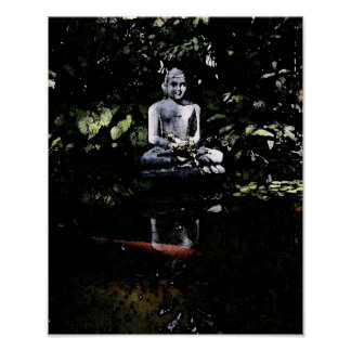 Smiling Buddha and Koi Poster