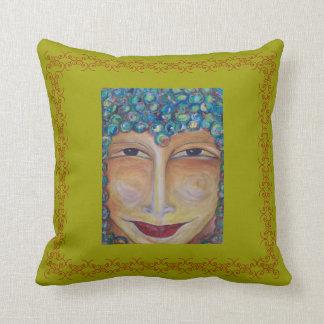 Smiling Buddha Pillow by ValAries Cushion