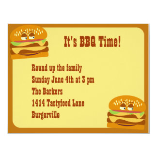 Smiling Burger BBQ Party 4.25x5.5 Paper Invitation Card