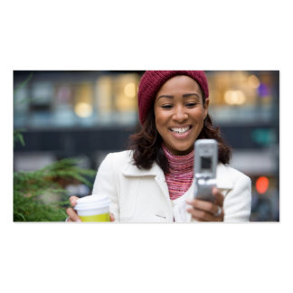 Smiling Business Woman with Cell Phone Business Card Templates