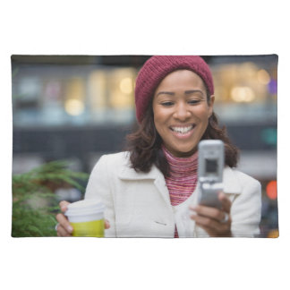 Smiling Business Woman with Cell Phone Place Mat