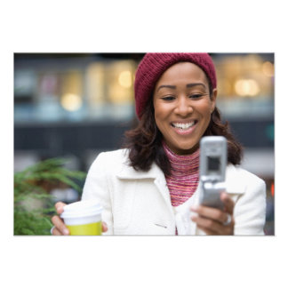 Smiling Business Woman with Cell Phone Custom Invitations