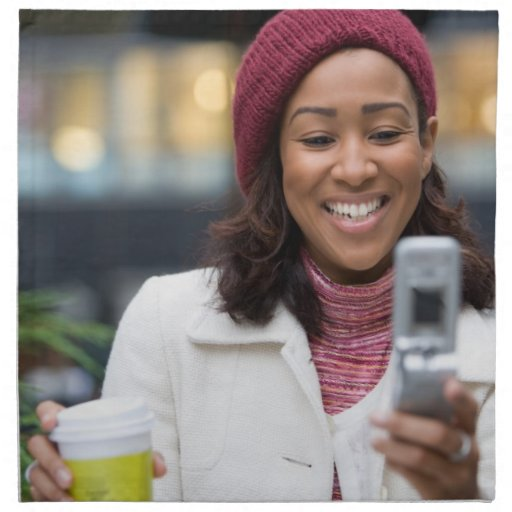 Smiling Business Woman with Cell Phone Napkins