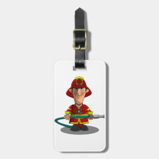 Smiling Cartoon Fireman/Firefighter Holding Hose Bag Tag