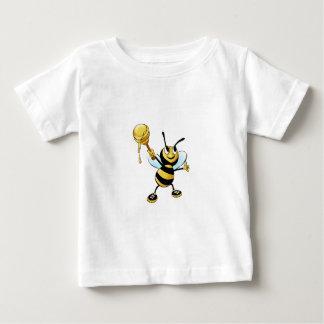 Smiling Cartoon Honey Bee Holding up Dipper Baby T-Shirt