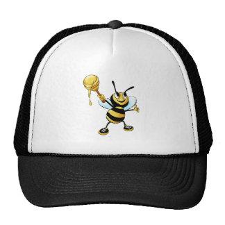 Smiling Cartoon Honey Bee Holding up Dipper Cap