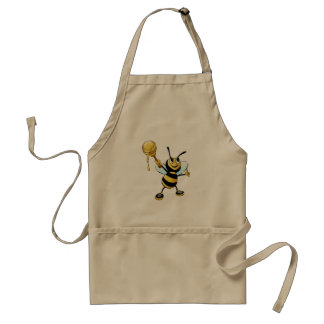 Smiling Cartoon Honey Bee Holding up Dipper Standard Apron