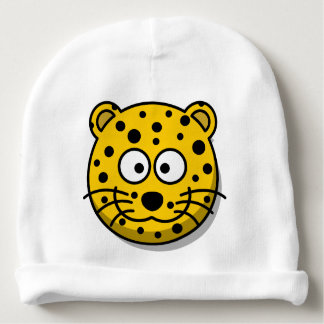 Smiling Cartoon Leopard Cat Baby Beanie