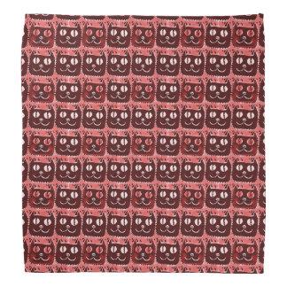 smiling cat face cartoon style illustration red bandanas
