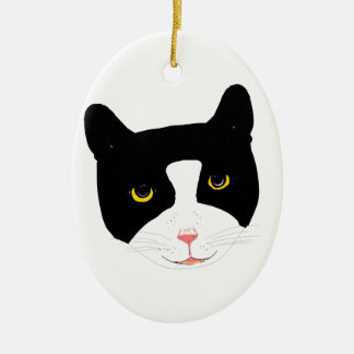 Smiling Cat Face Christmas Ornament