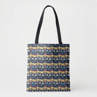 smiling cat face tiled pattern tote bag
