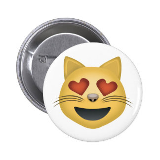 Smiling Cat Face With Heart Shaped Eyes Emoji 6 Cm Round Badge