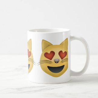 Smiling Cat Face With Heart Shaped Eyes Emoji Coffee Mug