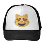 Smiling Cat Face With Heart Shaped Eyes Emoji Trucker Hats