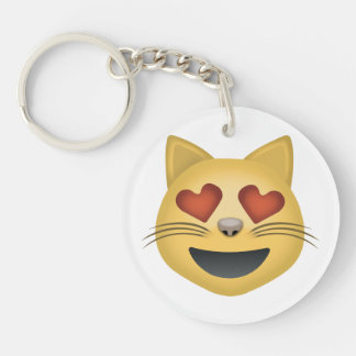 Smiling Cat Face With Heart Shaped Eyes Emoji Key Ring