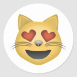 Smiling Cat Face With Heart Shaped Eyes Emoji Round Sticker
