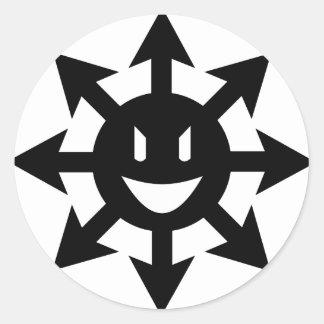 smiling chaos star round sticker
