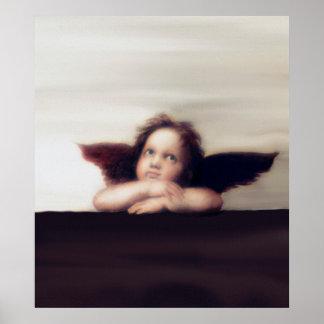 Smiling Cherub Boy Sistine Madonna Remake Poster