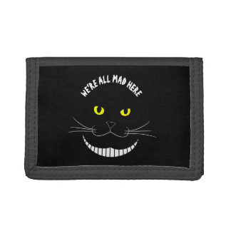 Smiling Cheshire Transparent Cat With Yellow Eyes Tri-fold Wallet
