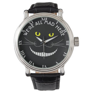 Smiling Cheshire Transparent Cat With Yellow Eyes Wristwatch