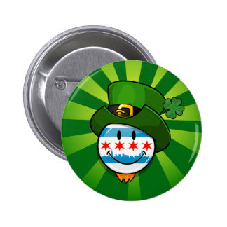 Smiling Chicago Flag with St. Patrick's Day Hat 6 Cm Round Badge