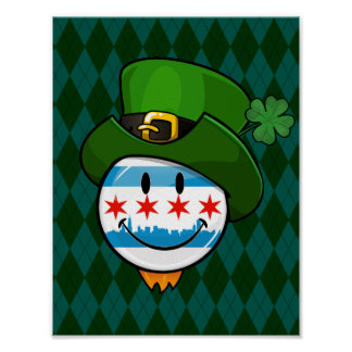 Smiling Chicago Flag with St. Patrick's Day Hat Poster