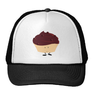 Smiling chocolate frosted cupcake hats