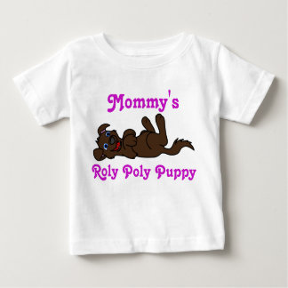 Smiling Chocolate Puppy Dog Roll Over Baby T-Shirt