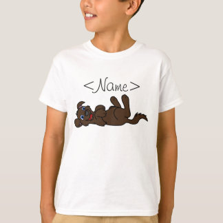 Smiling Chocolate Puppy Dog Roll Over Tee Shirts