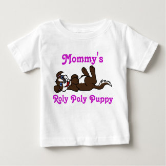 Smiling Chocolate Puppy Dog with Blaze Roll Over Baby T-Shirt