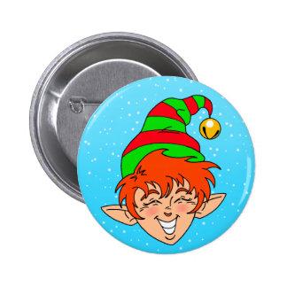 Smiling Christmas Elf 6 Cm Round Badge