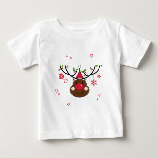 Smiling Christmas Reindeer Baby T-Shirt