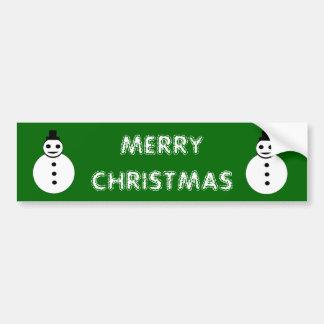 Smiling Christmas Snowman Bumper Sticker
