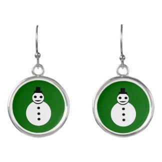 Smiling Christmas Snowman Drop Earrings