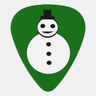 Smiling Christmas Snowman Guitar Pick