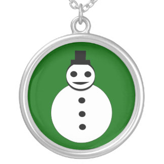 Smiling Christmas Snowman Necklace